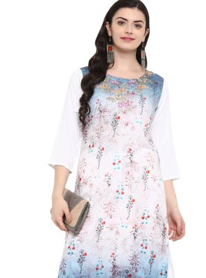 Casual Kurti Print Rayon in Multi Colour