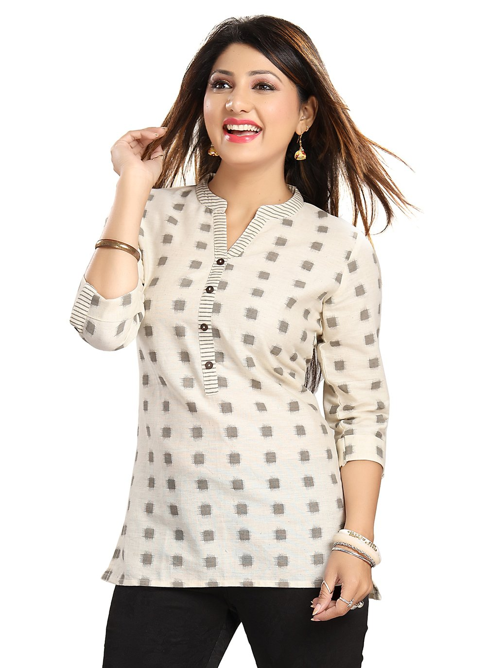 Casual Kurti Printed Blended Cotton in Cream