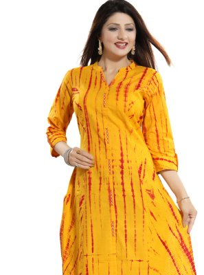 Casual Kurti Printed Blended Cotton in Yellow