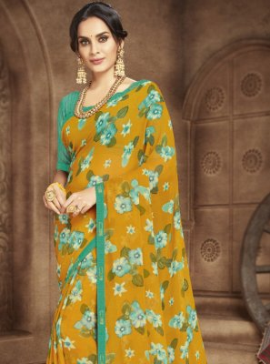 Casual Saree Abstract Print Faux Georgette in Multi Colour