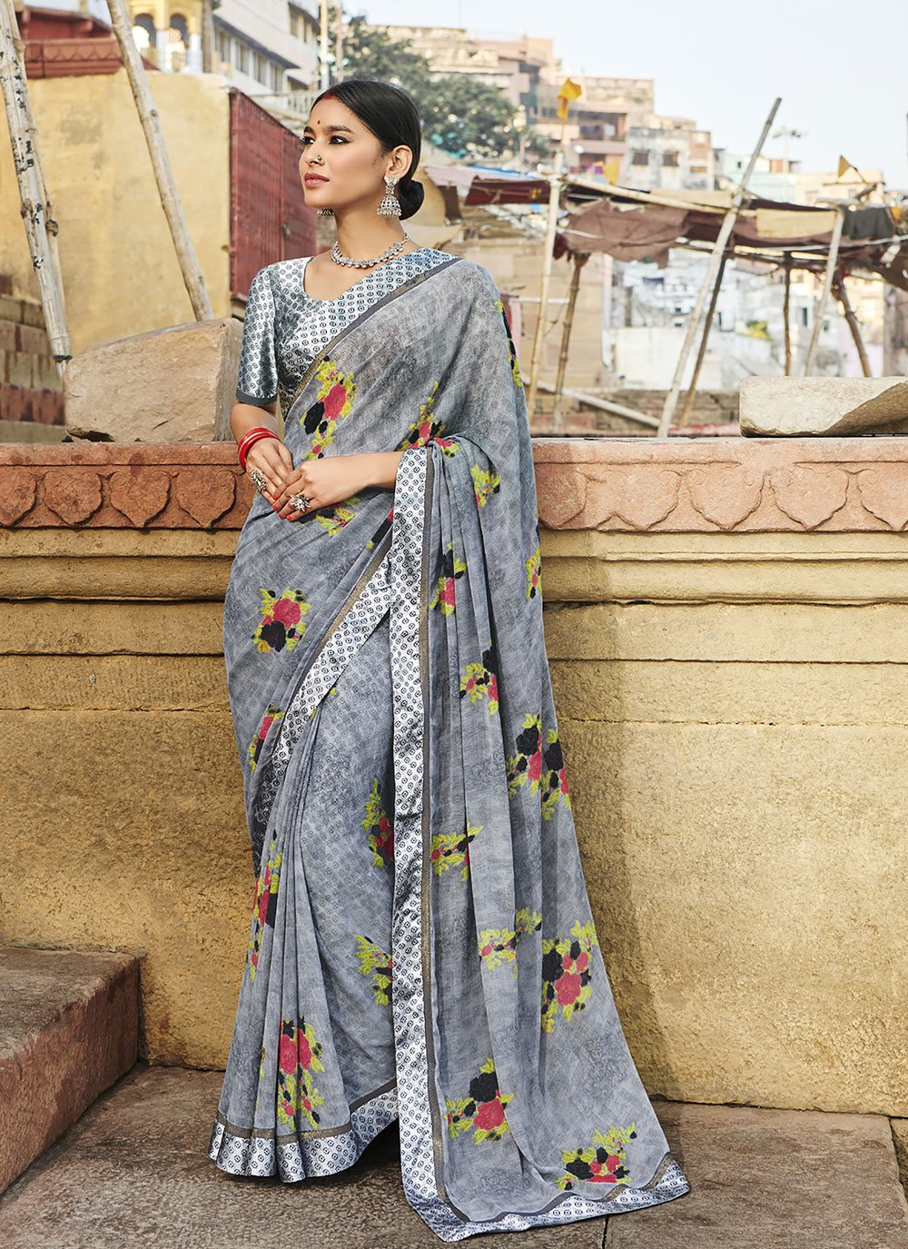 Casual Saree Abstract Print Weight Less in Multi Colour