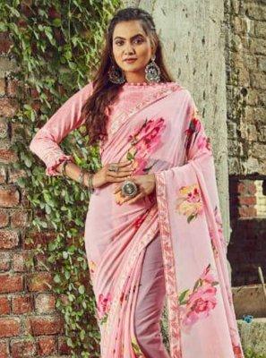 Casual Saree Floral Print Georgette in Pink