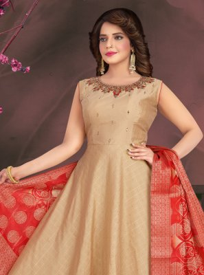 Chanderi Beige Readymade Suit