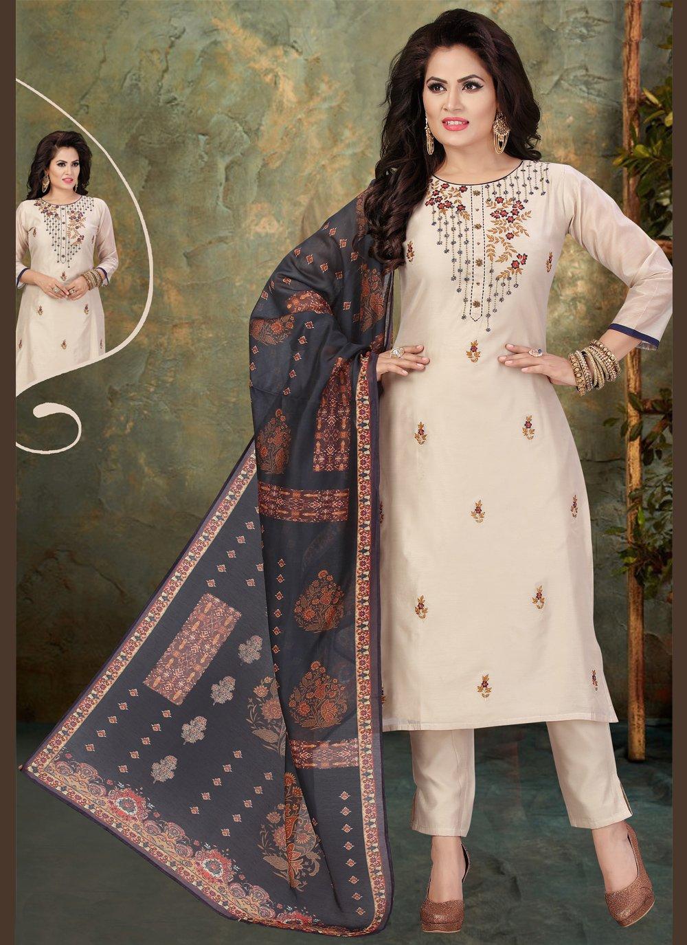 Chanderi Beige Readymade Suit
