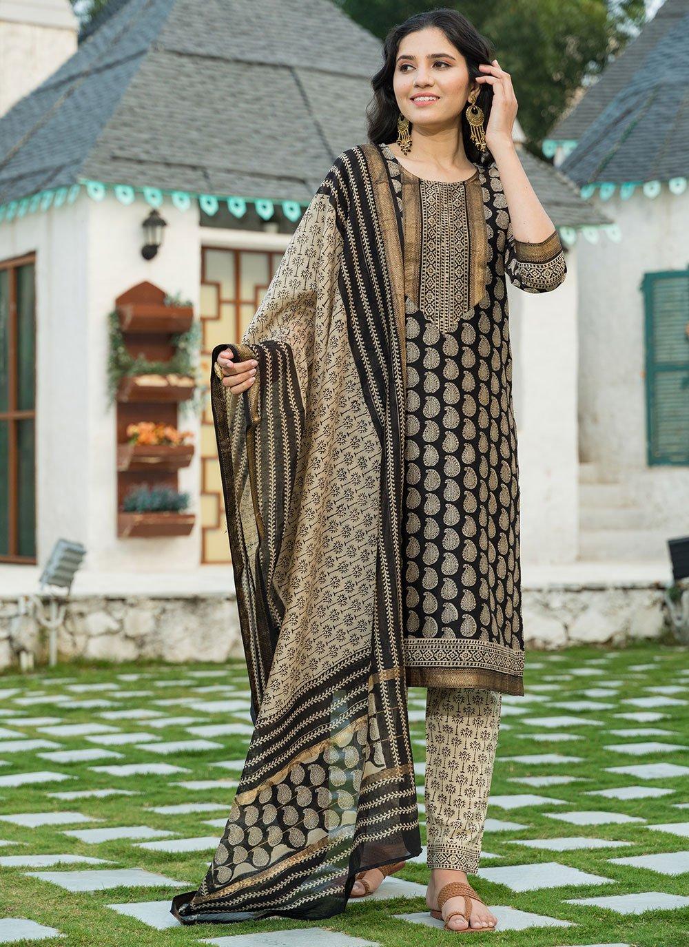 Chanderi Black Designer Suit