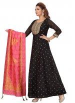 Chanderi Black Floor Length Anarkali Suit