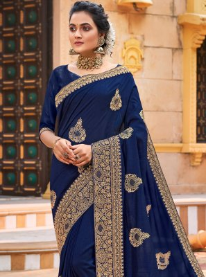 Chanderi Blue Embroidered Designer Traditional Saree