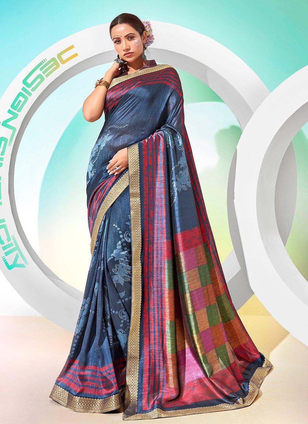 Chanderi Blue Foil Print Traditional Saree