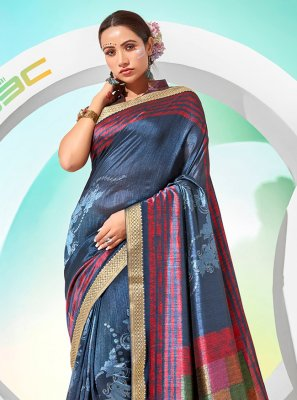 Chanderi Blue Foil Print Traditional Saree