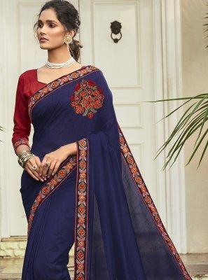 Chanderi Blue Patch Border Silk Saree