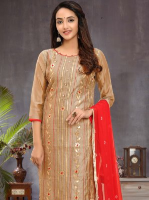 Chanderi Ceremonial Churidar Designer Suit