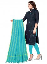 Chanderi Cotton Embroidered Churidar Suit in Navy Blue