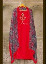 Chanderi Cotton Embroidered Red Churidar Salwar Suit
