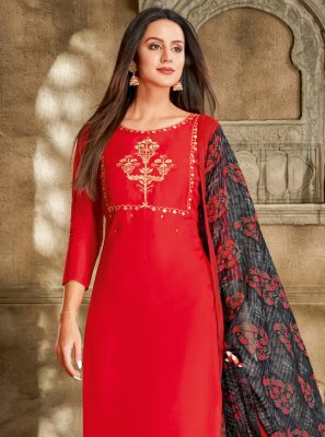 Chanderi Cotton Embroidered Red Churidar Salwar Suit
