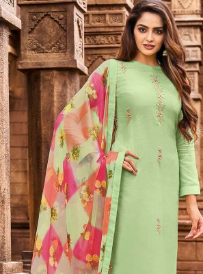 Chanderi Cotton Embroidered Trendy Salwar Suit in Green