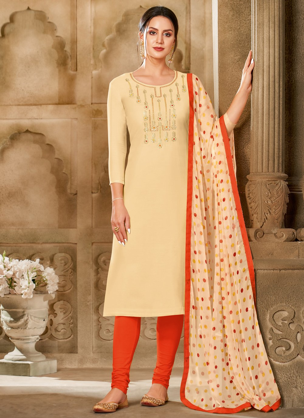 Chanderi Cotton Printed Cream Churidar Salwar Suit