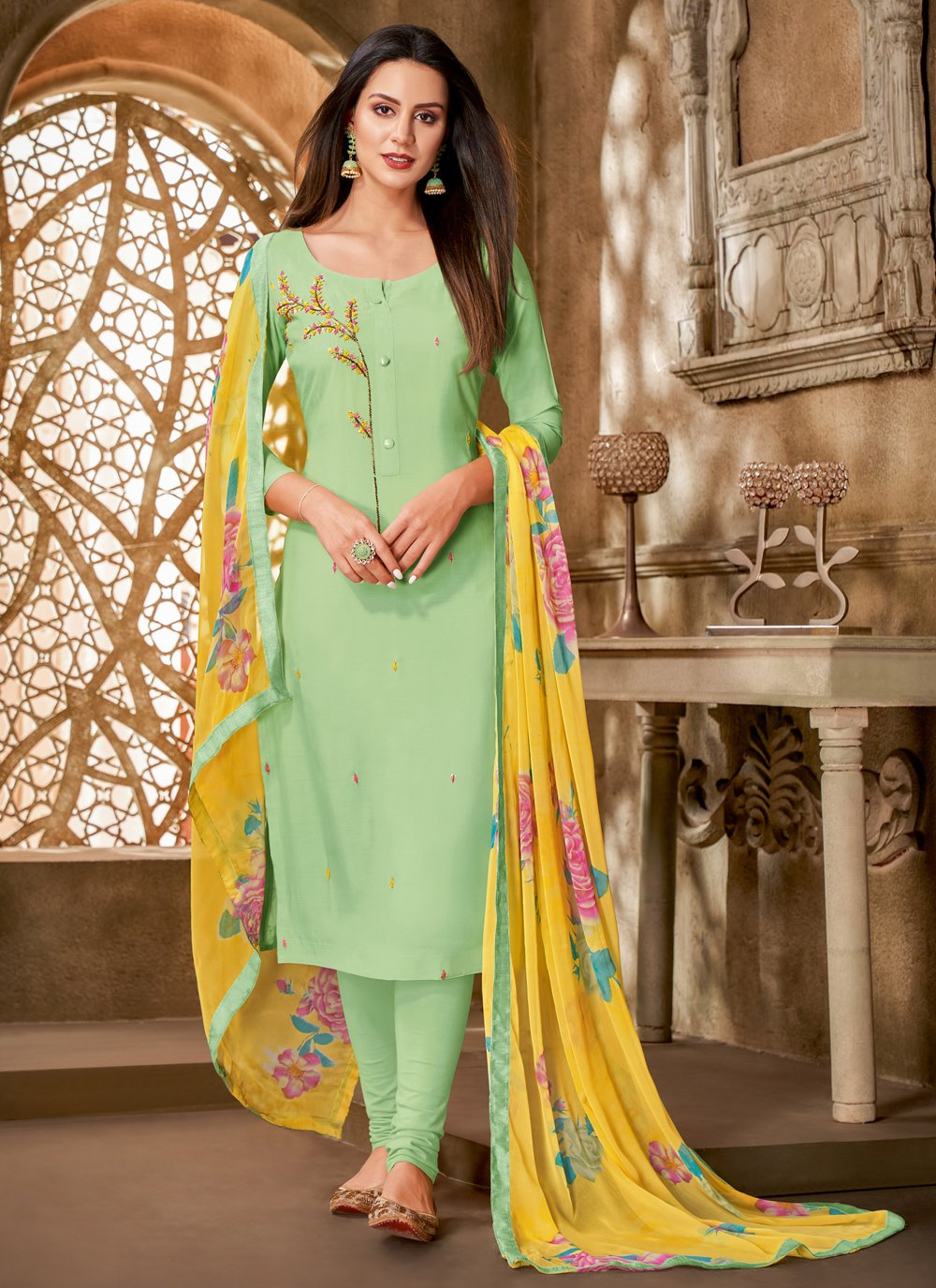 Chanderi Cotton Printed Green Churidar Suit