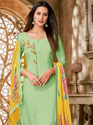 Chanderi Cotton Printed Green Churidar Suit
