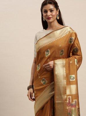 Chanderi Cotton Woven Brown Classic Designer Saree