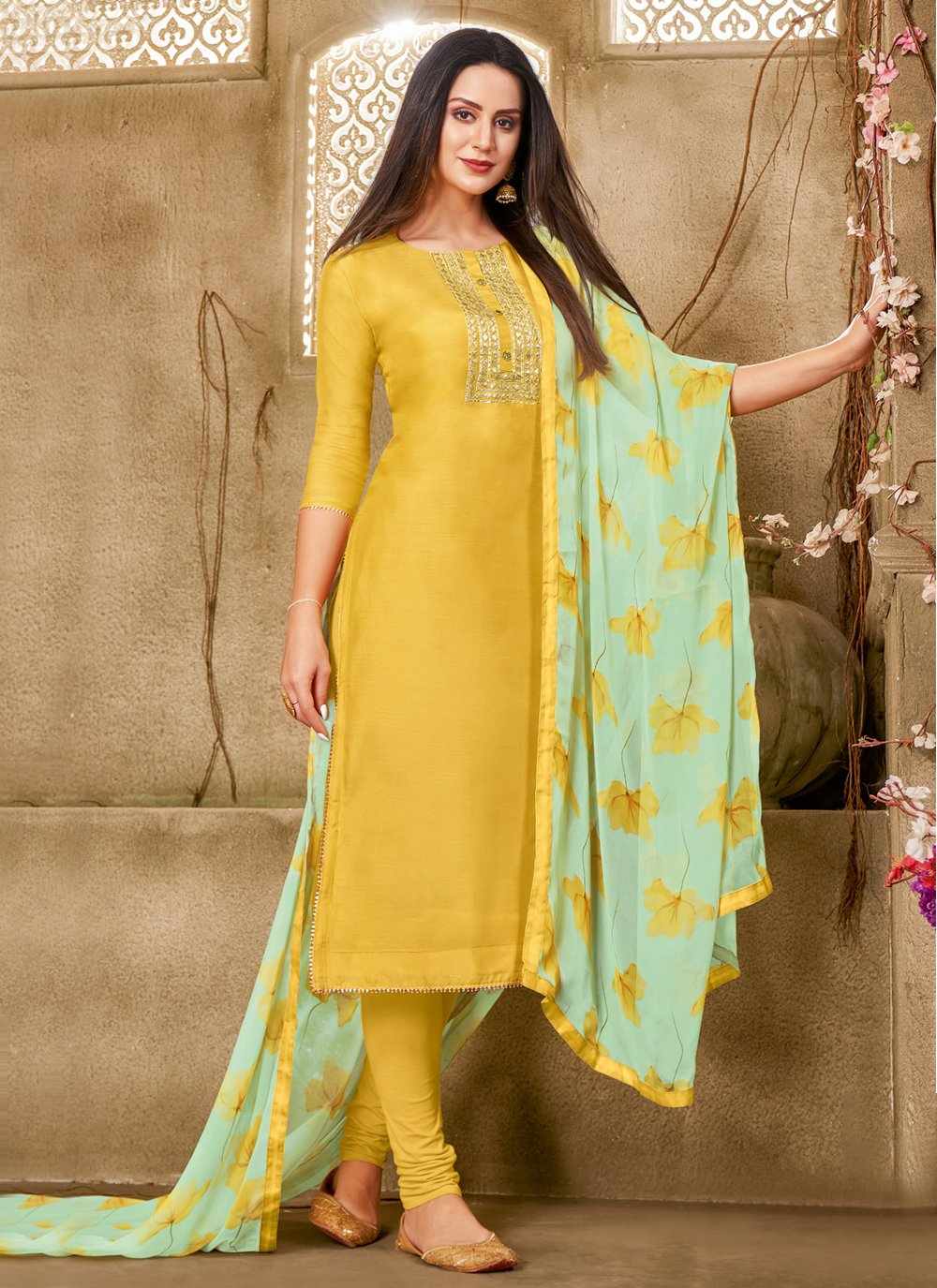 Chanderi Cotton Yellow Printed Churidar Suit