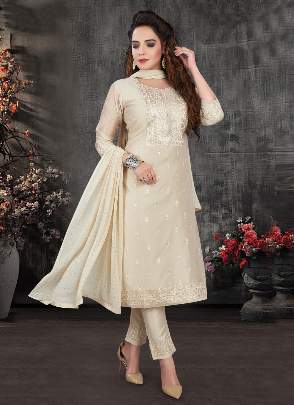 Chanderi Cream Pant Style Suit