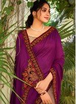 Chanderi Designer Half N Half Saree in Beige and Purple
