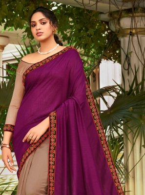 Chanderi Designer Half N Half Saree in Beige and Purple