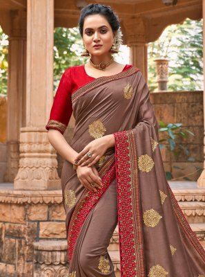 Chanderi Designer Traditional Saree in Brown