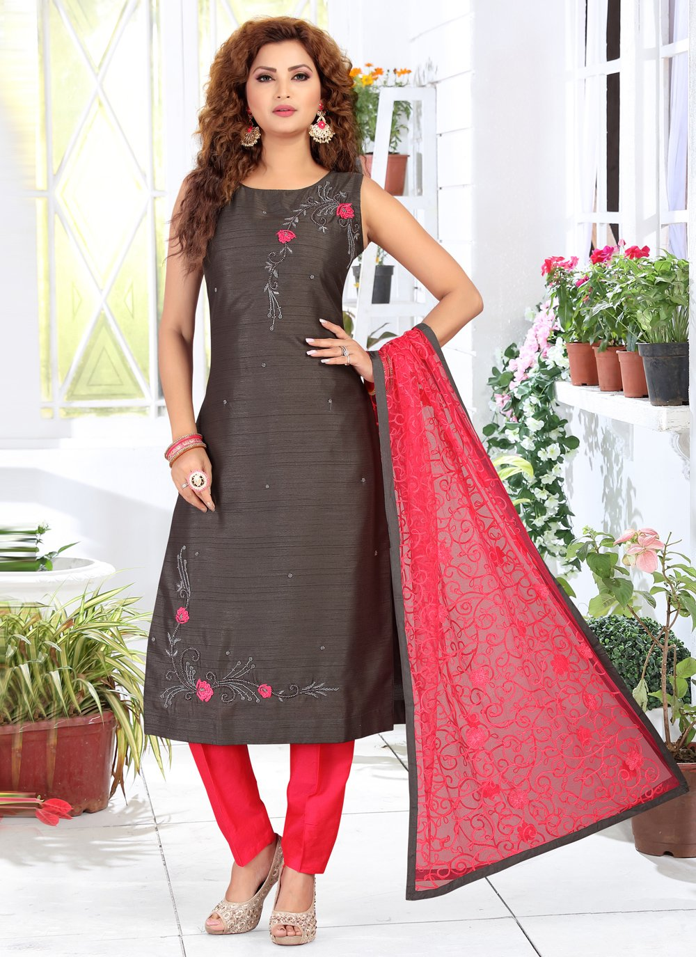 Chanderi Embroidered Black Readymade Suit