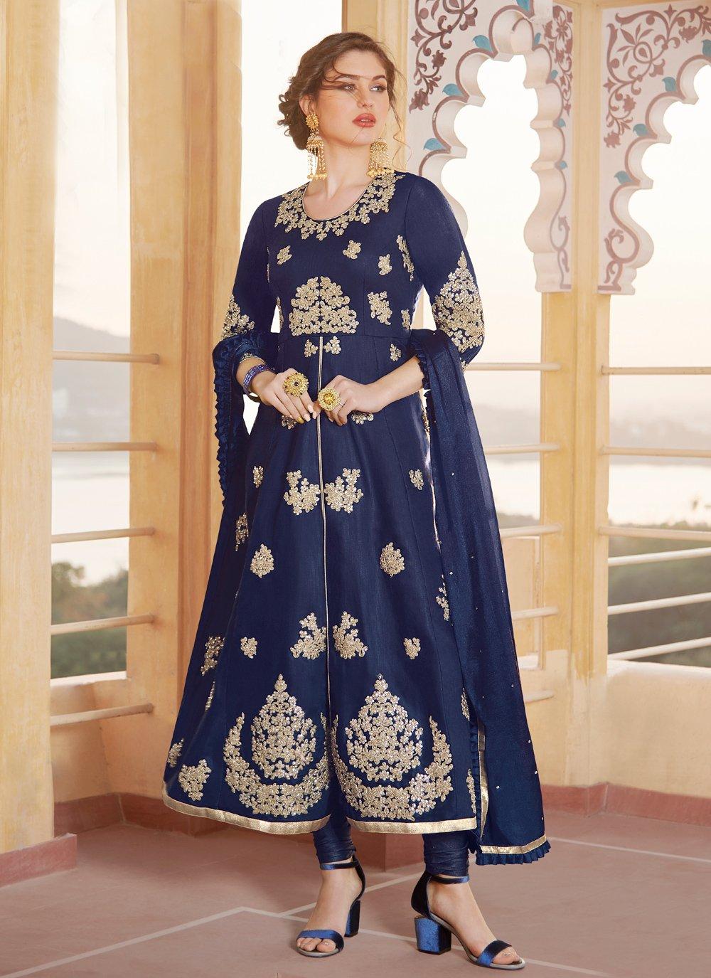 Chanderi Embroidered Blue Anarkali Salwar Kameez