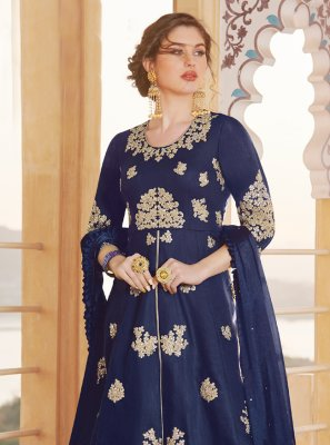 Chanderi Embroidered Blue Anarkali Salwar Kameez