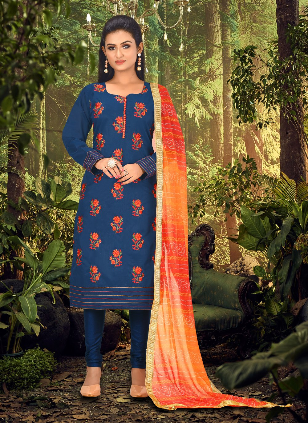 Chanderi Embroidered Blue Churidar Designer Suit