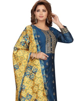 Chanderi Embroidered Blue Readymade Suit