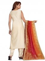 Chanderi Embroidered Cream Readymade Suit