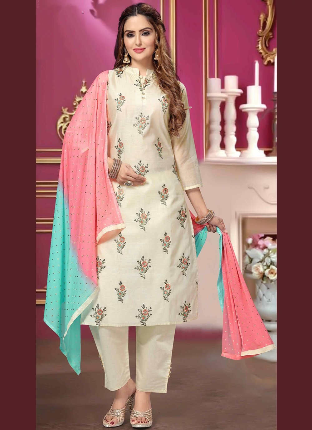 Chanderi Embroidered Off White Designer Salwar Kameez