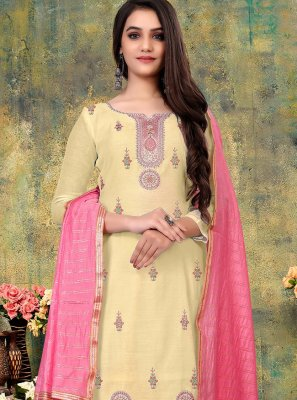 Chanderi Embroidered Off White Pant Style Suit