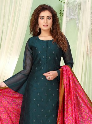 Chanderi Embroidered Palazzo Salwar Kameez in Teal