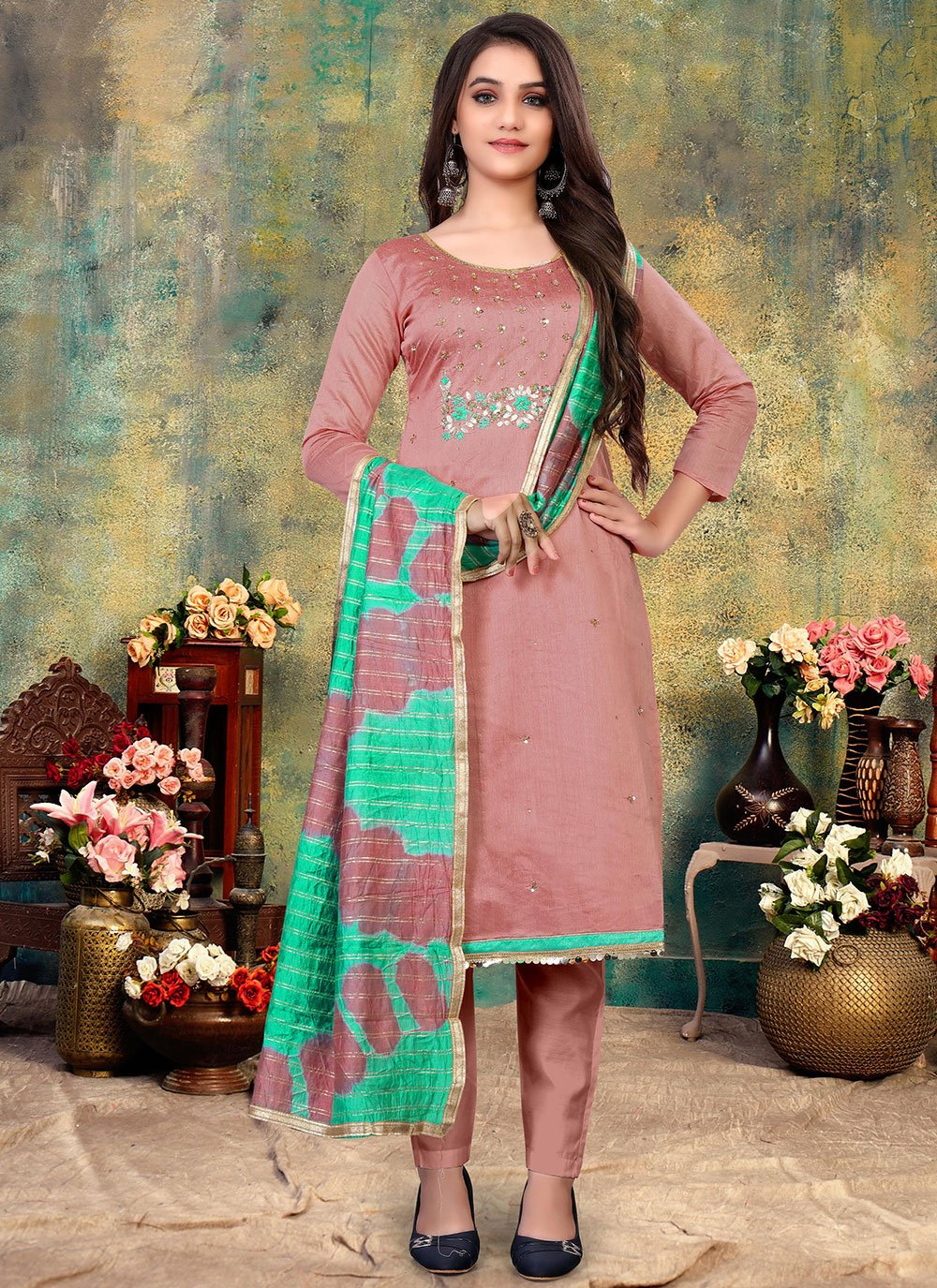 Chanderi Embroidered Pant Style Suit in Pink