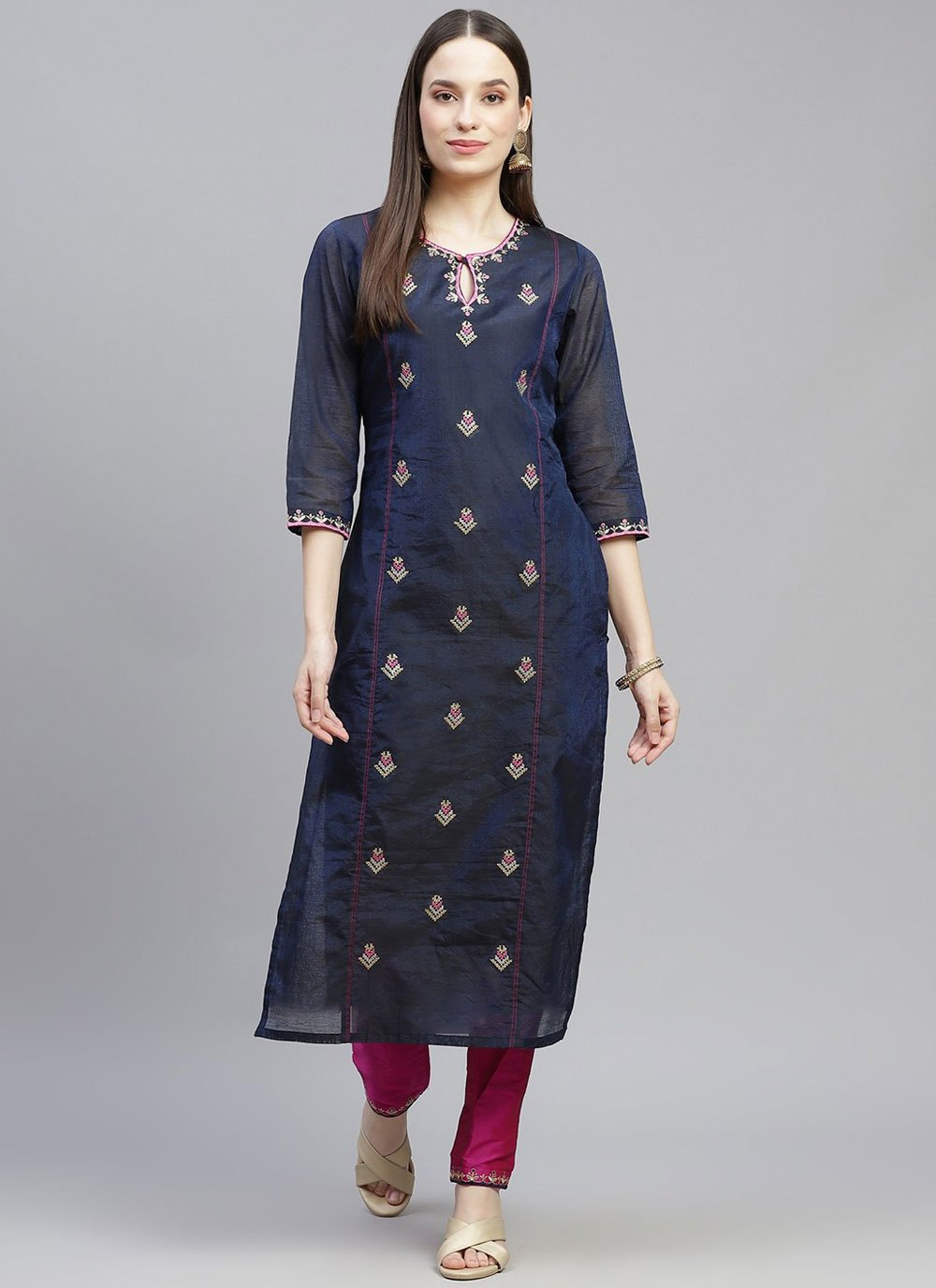 Chanderi Embroidered Party Wear Kurti in Navy Blue