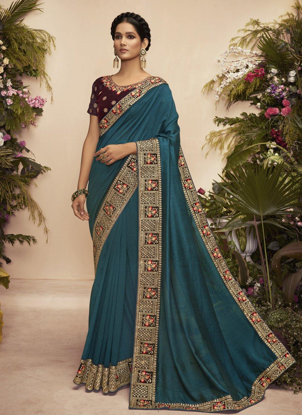 Chanderi Embroidered Rama Traditional Designer Saree