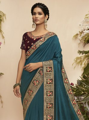 Chanderi Embroidered Rama Traditional Designer Saree
