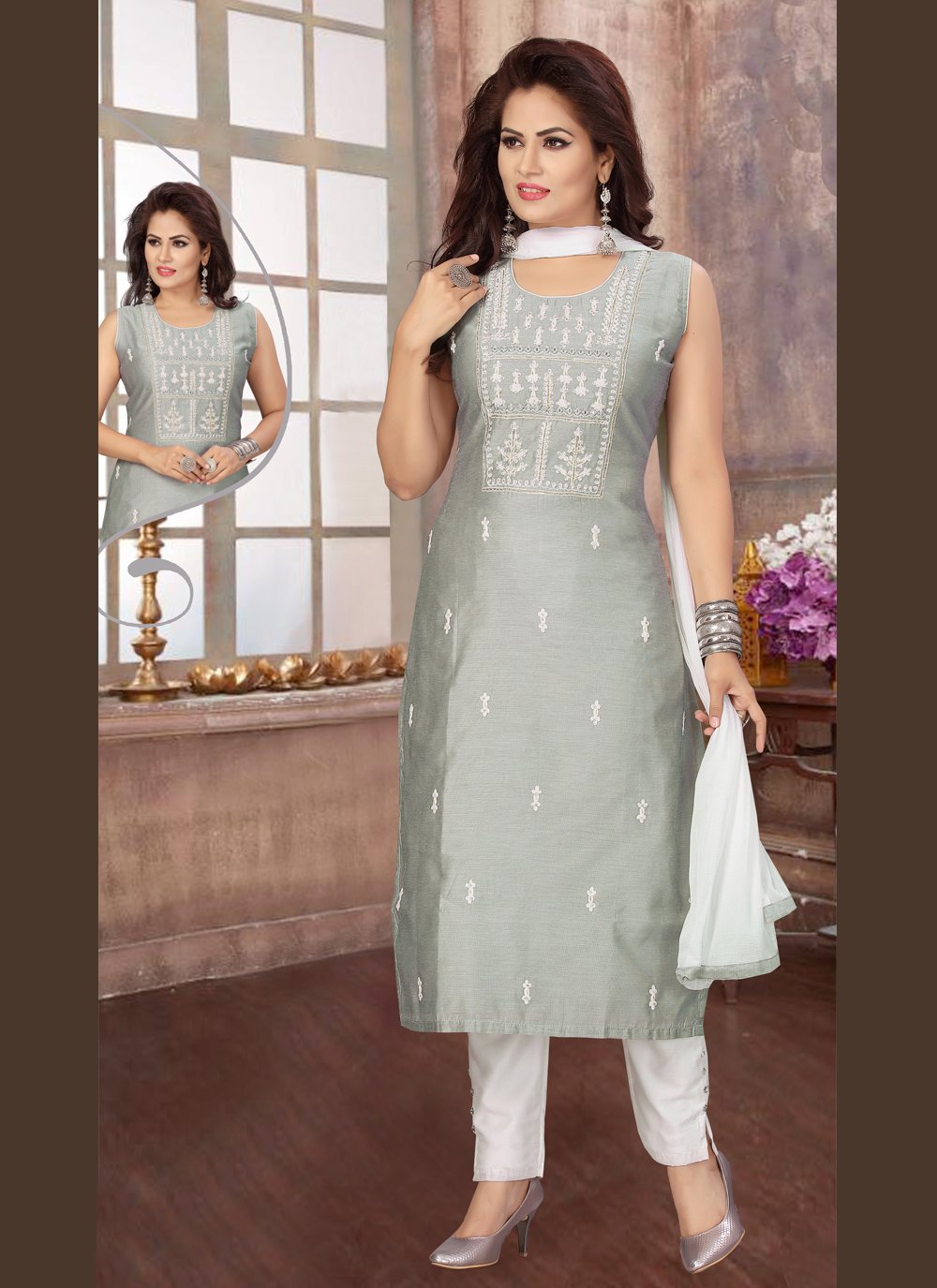 Chanderi Embroidered Readymade Suit in Grey
