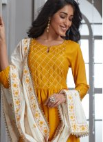 Chanderi Embroidered Readymade Suit in Mustard