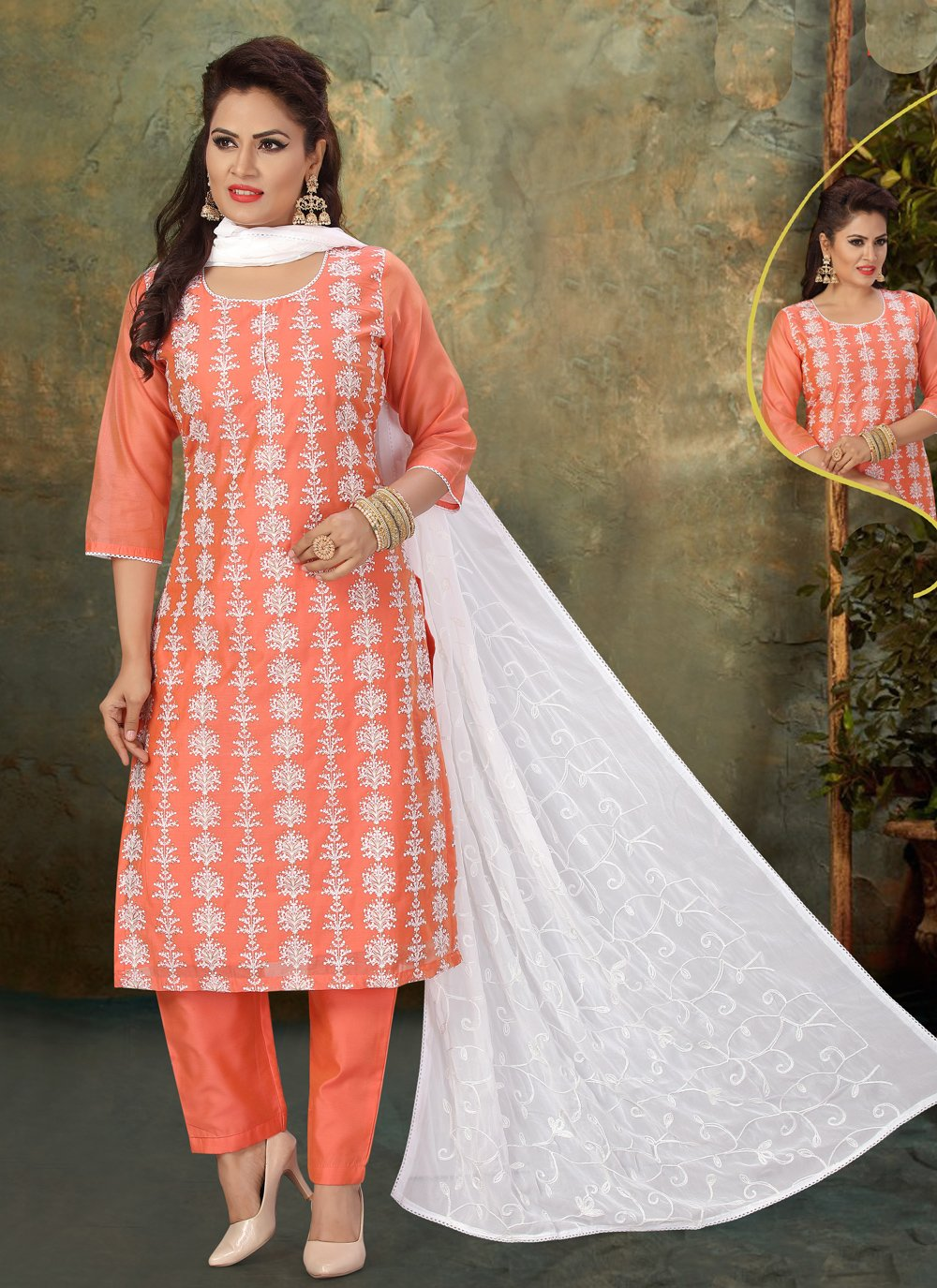 Chanderi Embroidered Readymade Suit in Peach
