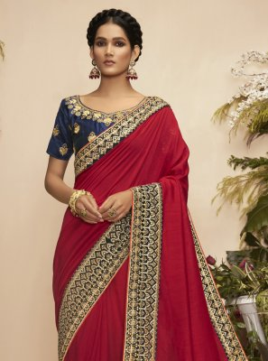 Chanderi Embroidered Traditional Saree