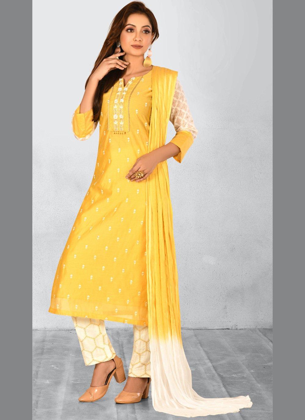Chanderi Embroidered Trendy Salwar Kameez in Yellow
