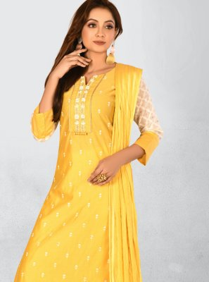 Chanderi Embroidered Trendy Salwar Kameez in Yellow