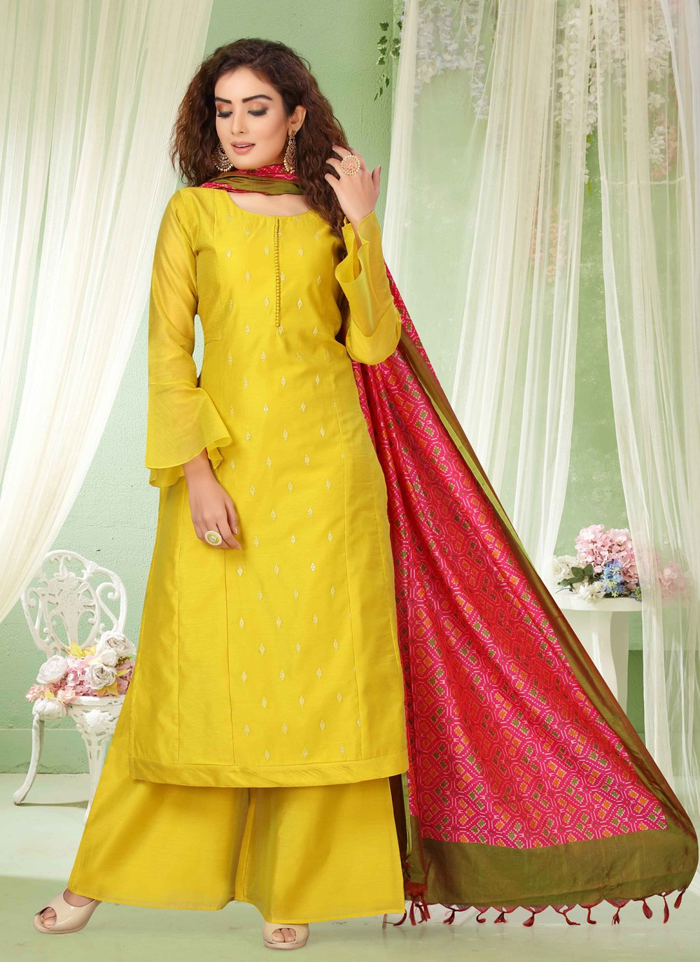 Chanderi Embroidered Yellow Palazzo Salwar Kameez