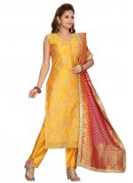 Chanderi Embroidered Yellow Readymade Suit