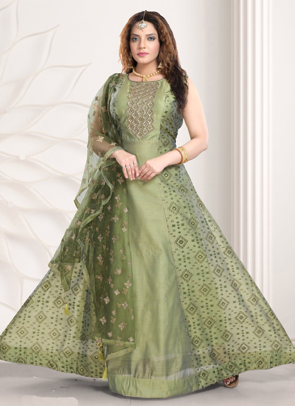 Chanderi Engagement Readymade Gown